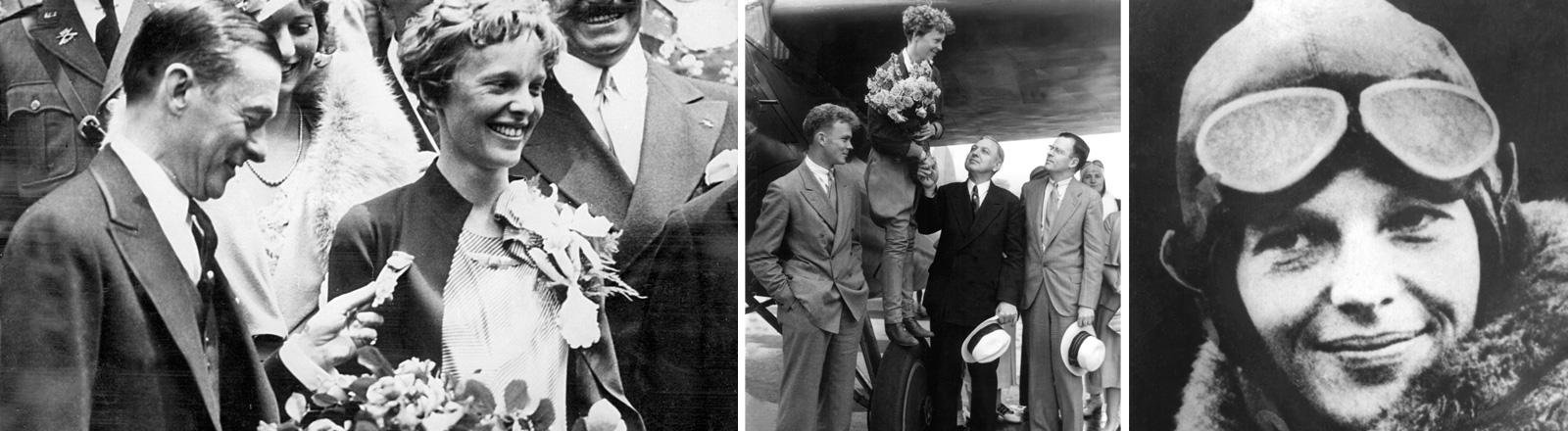 Verschiedene Fotos zeigen Amelia Earhart, zum Beispiel auf dem Reifen eines Flugzeuges, mit Fliegermütze und Brille oder bei einer Ehrung.