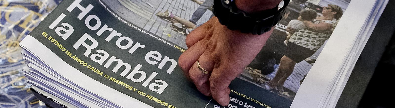 Spanische Zeitung berichtet über den Anschlag von Barcelona.