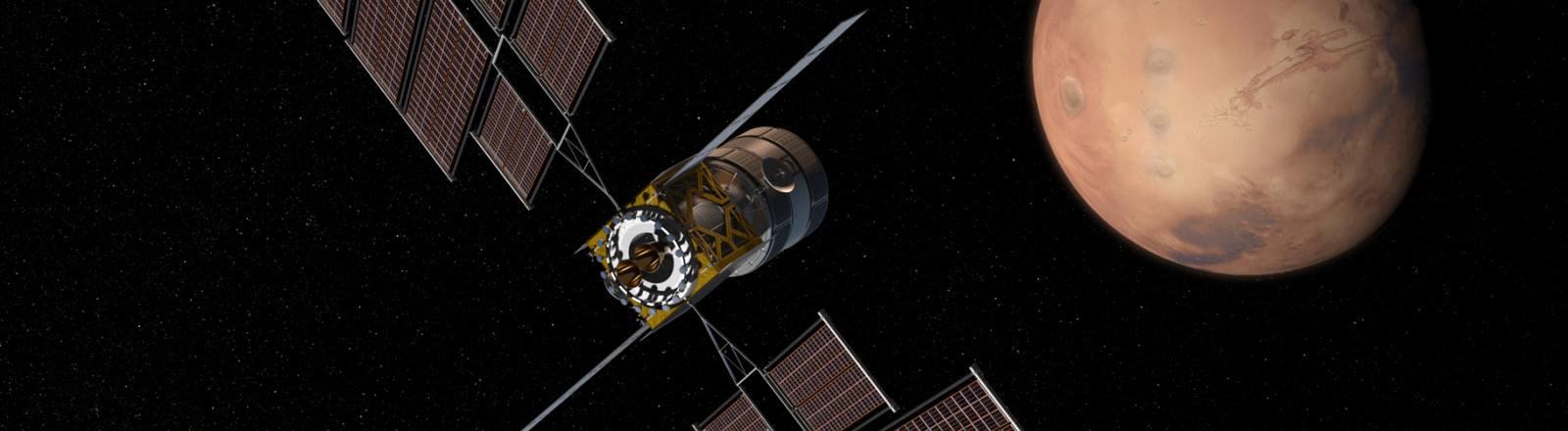 Boeings Raumschiff Deep Space Gateway in einer Simulation