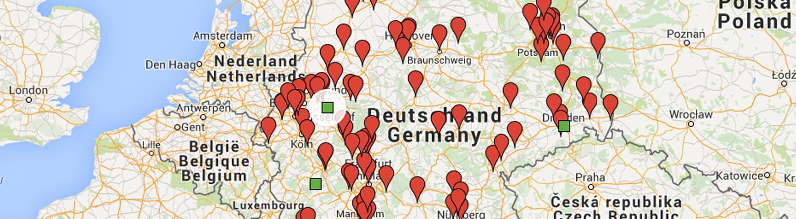 Auf einer Deutschlandkarte sind alle Hilfsprojekte mit roten Fähnchen eingezeichnet