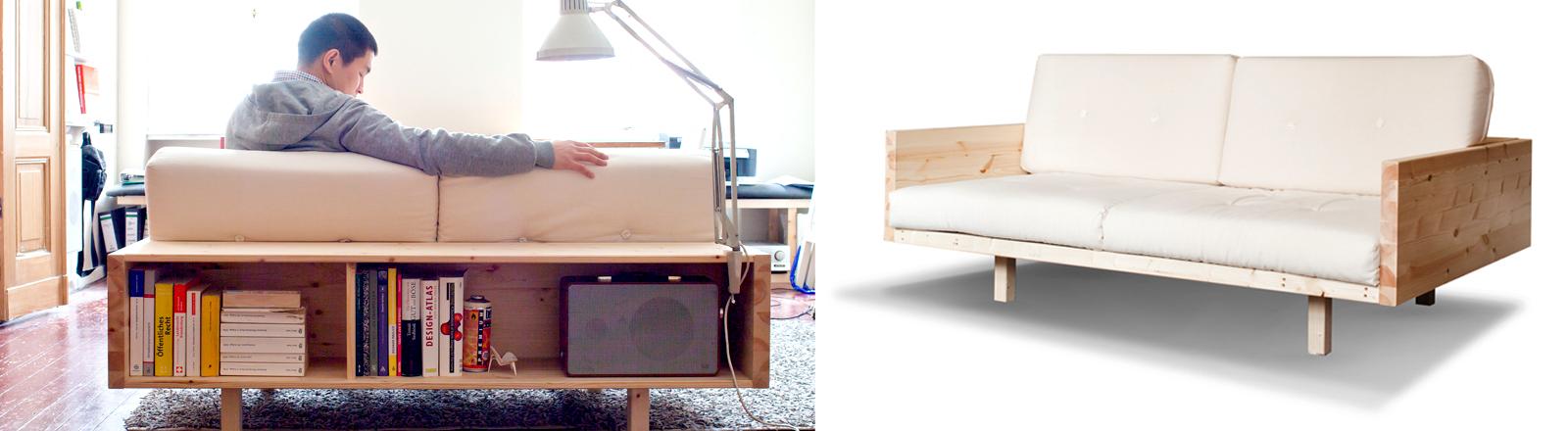 Van Bo Le-Mentzel sitzt auf seiner Couch, an die auch noch ein Regal angeschraubt ist