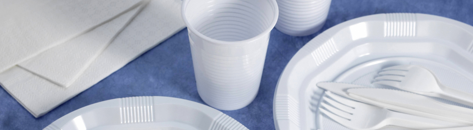 Weißes Plastikgeschirr und -besteck auf blauer Tischdecke