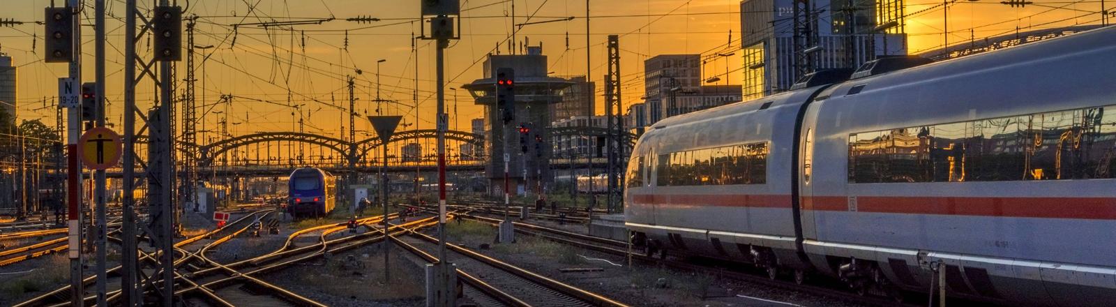 ICE fährt bei Sonnenuntergang in einen Bahnhof ein.