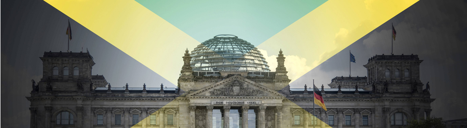 Collage: Der Reichstag und die Jamaikaflagge