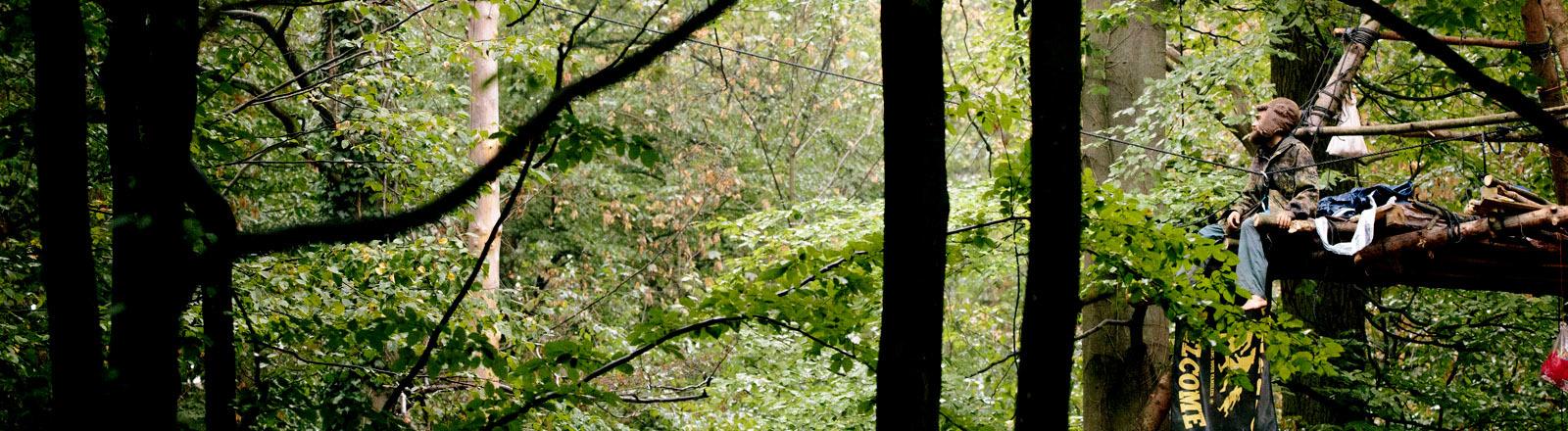 Ein Waldbesetzer sitzt auf einer Plattform in den Baumkronen, während sich von einer Seite ein Kran nähert.