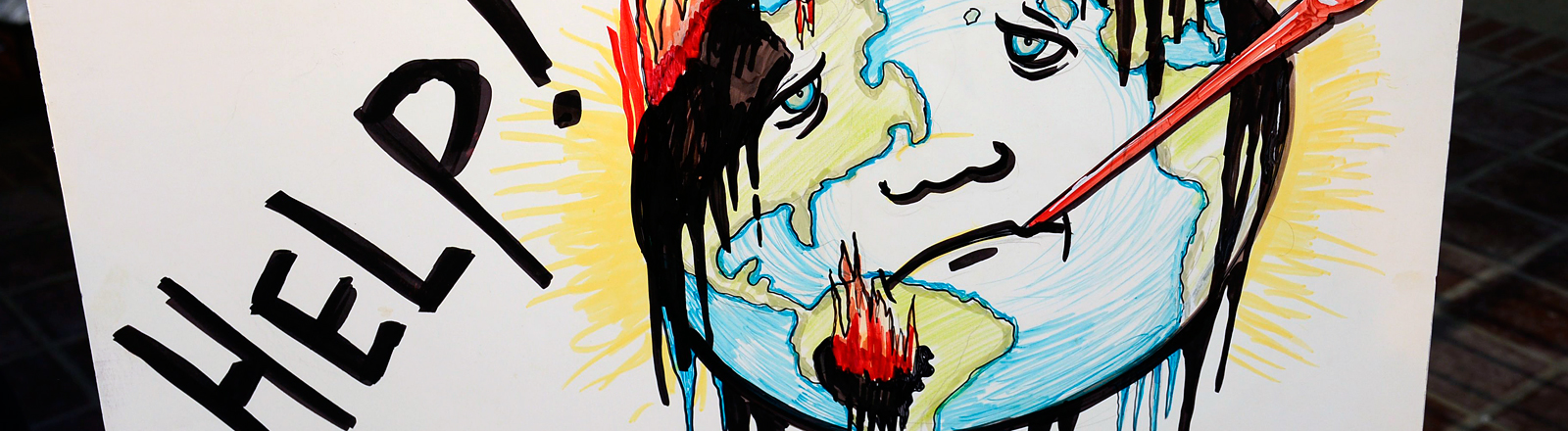 Demo zum Klimaschutz - Banner mit rauchender Erde