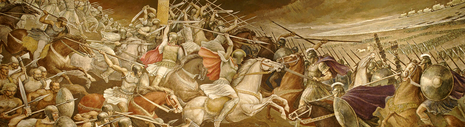 Fresko einer Römerschlacht