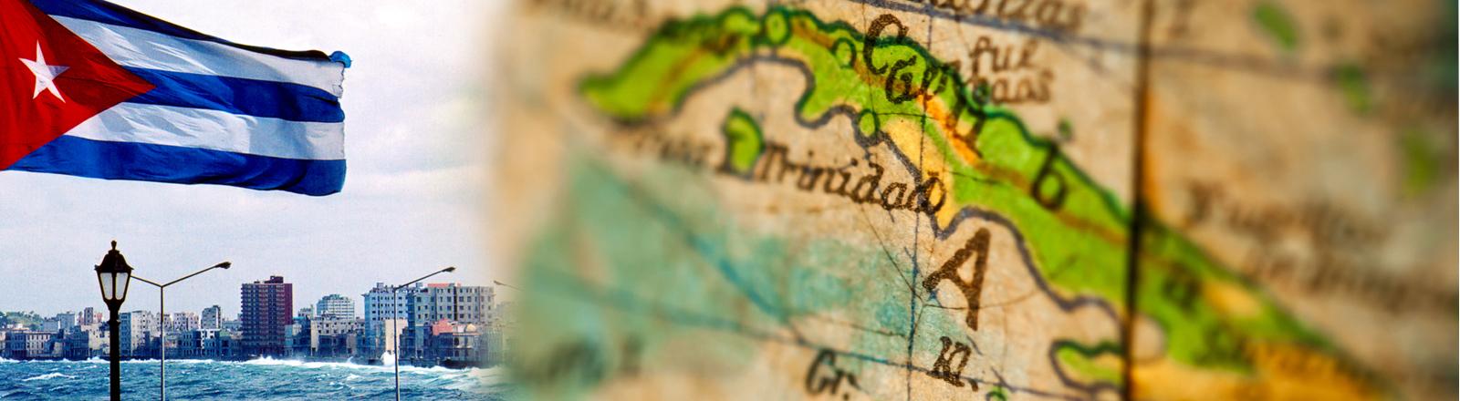Die kubanische Flagge in einer Bucht und ein alter Globus auf dem Kuba zu sehen ist