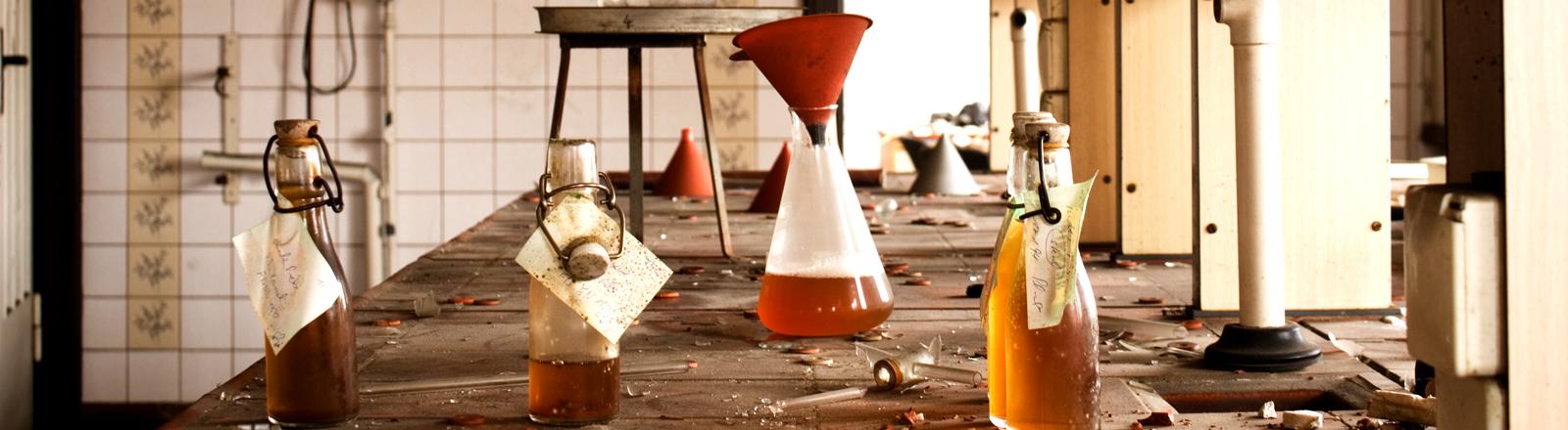 In einem Labor stehen verschiedene Flaschen mit braunen Substanzen drin auf einem langen Tisch.