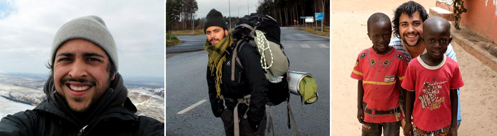 Mitch Miller vor Alpenpanorama, mit vollem Gepäck und mit zwei Kindern in der Türkei