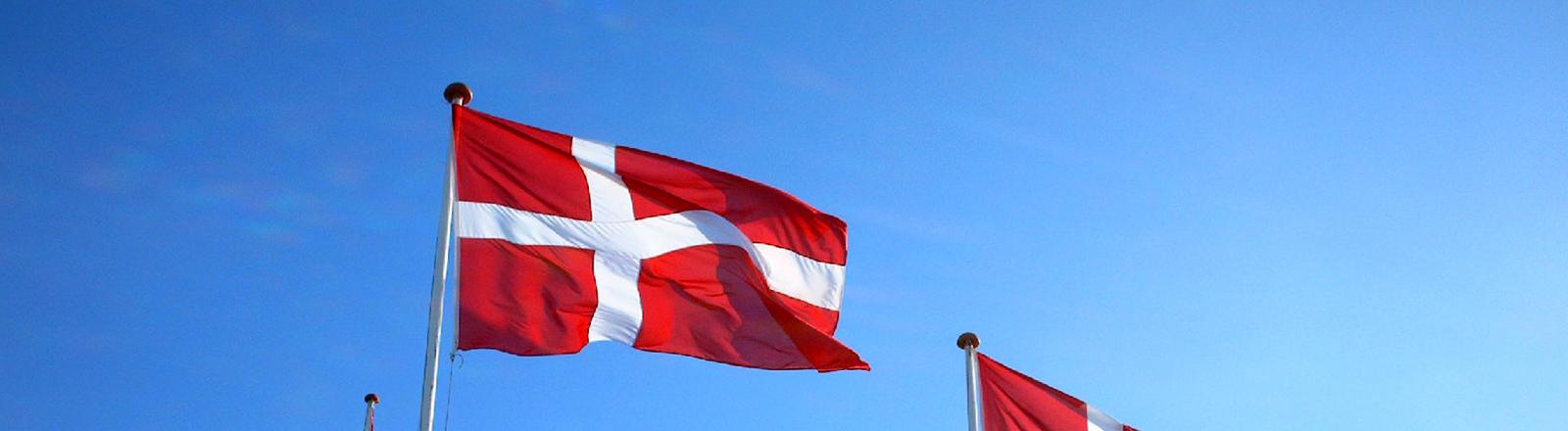 Drei dänische Flaggen wehen vor blauem Himmel