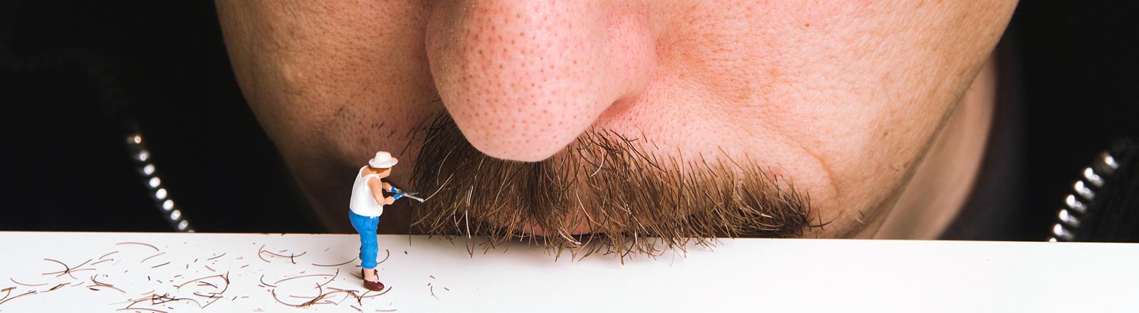 Schnurrbart mit Schere