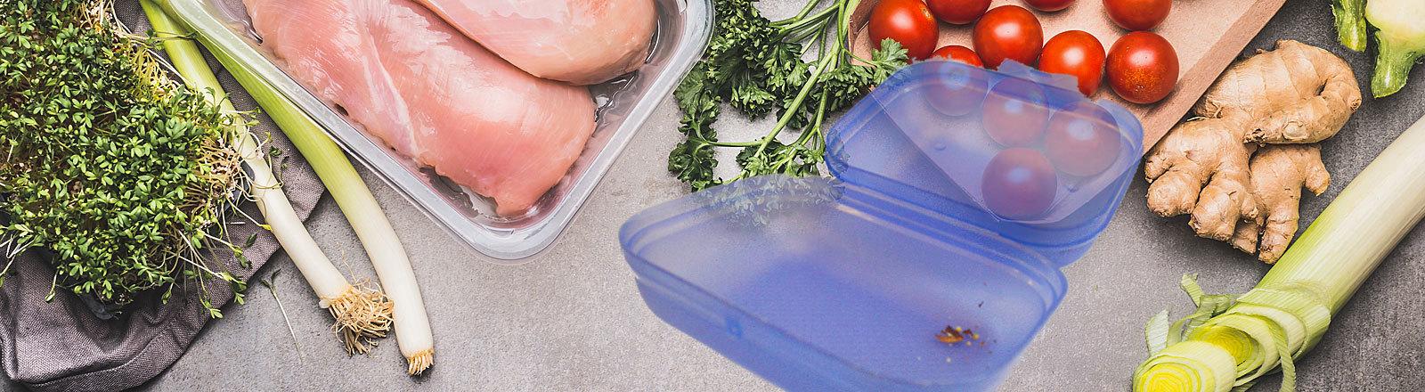 Gemüse und Fleisch, Tupperbox (Collage)