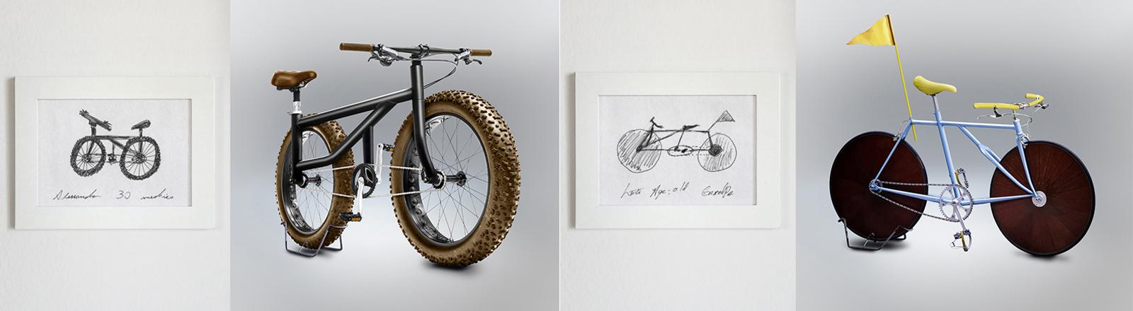 Fahrräder nach einer Zeichnung designed