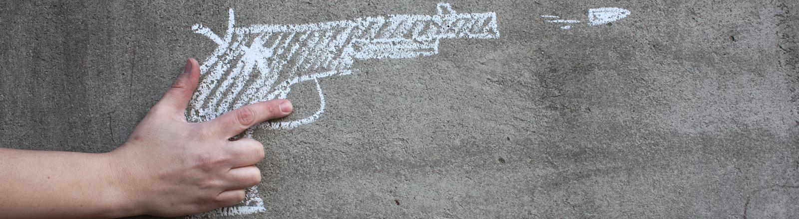 Waffe auf eine Wand gemalt