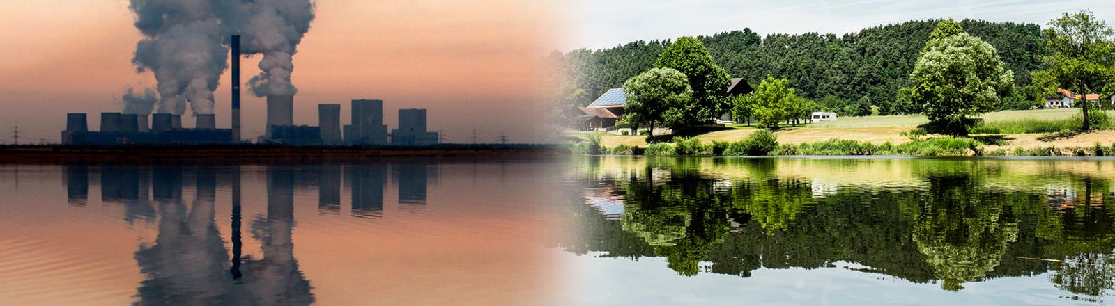 Ein Fabrikgelände mit rauchenden Schloten spiegelt sich bei Sonnenuntergang in einem Fluss, daneben eine grüne Landschaft, die sich ebenfalls im Wasser spiegelt