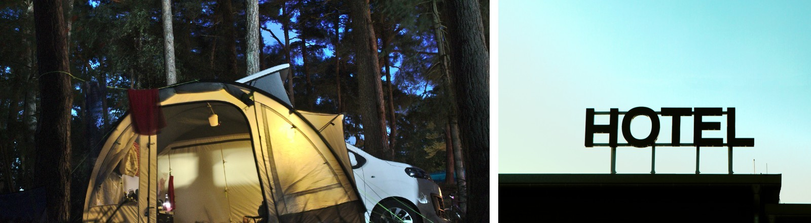 Ein Camper im Wald und ein Hotelschild vorm blauen Himmel.
