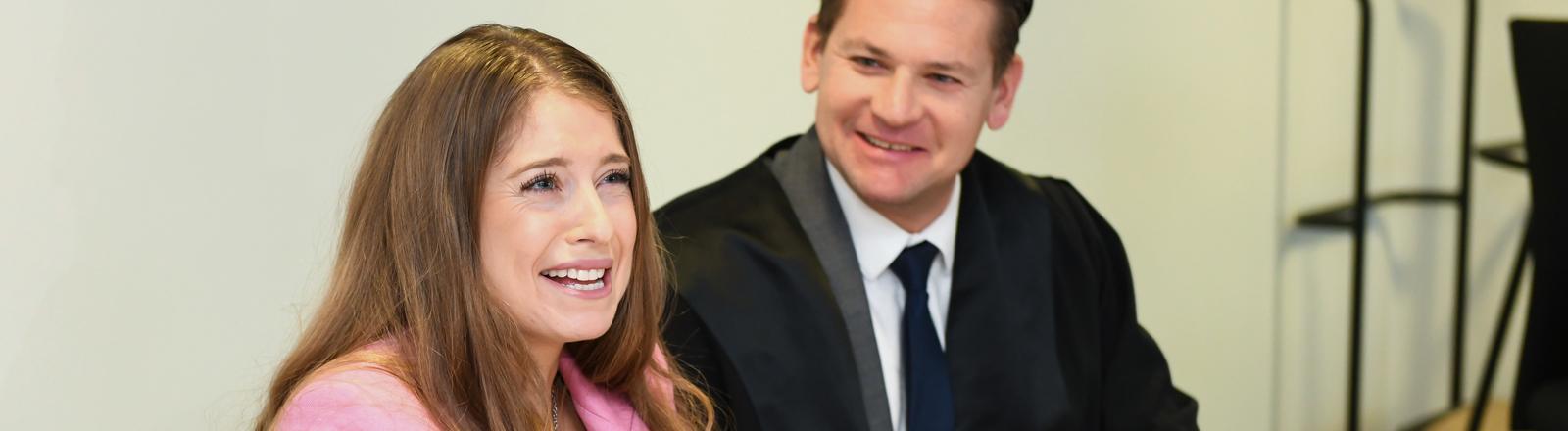 Cathy Hummels am 11.02.2019 vor dem Landgericht in München