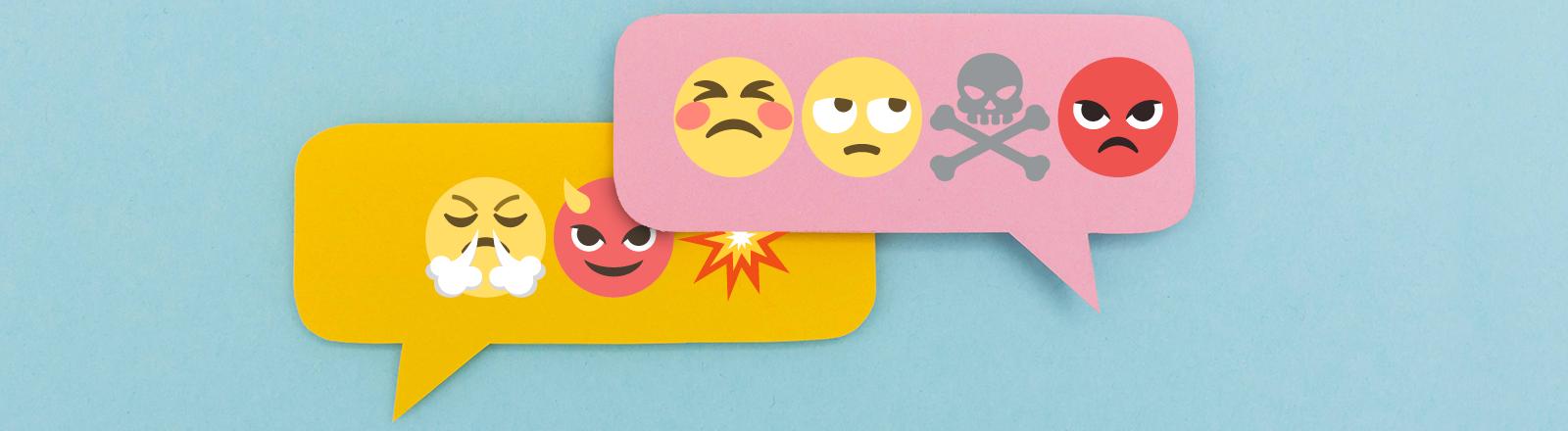 In Sprechblasen sind Emojis zu sehen, die Wut oder Hass symbolisieren