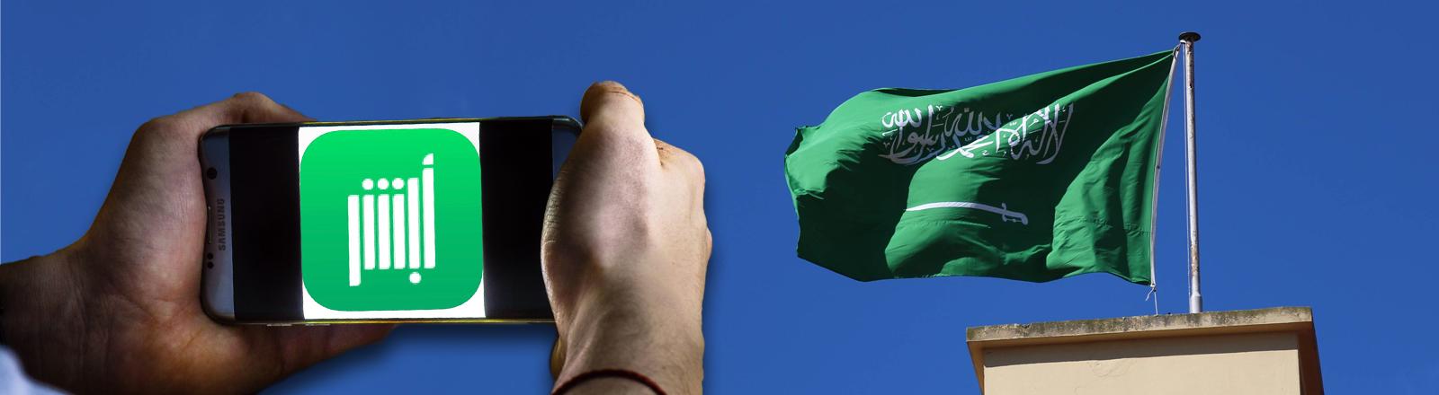 Die App Abasher auf einem Smartphone, das von Händen gehalten wird, dahinter die Saudi-Arabische Flagge auf einem Botschaftsgebäude. Bildcollage