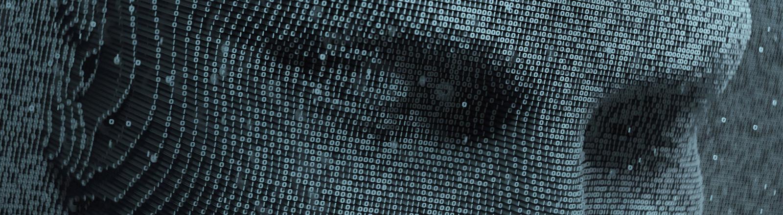 Ein Gesicht aus Binärcode in dreidimensionaler Anmutung