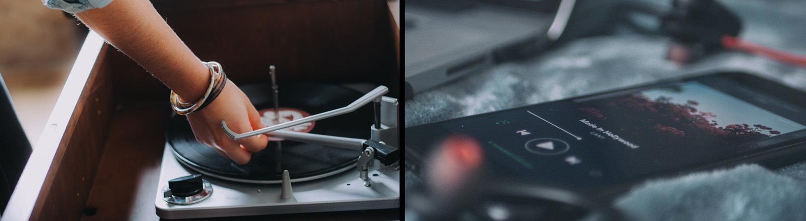 Collage mit Schallplatten und Handy mit Musikstreaming