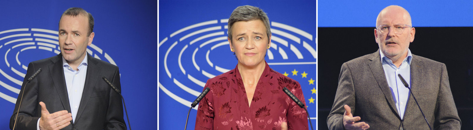 Von links: Manfred Weber, Margrethe Vestager, Frans Timmermans
