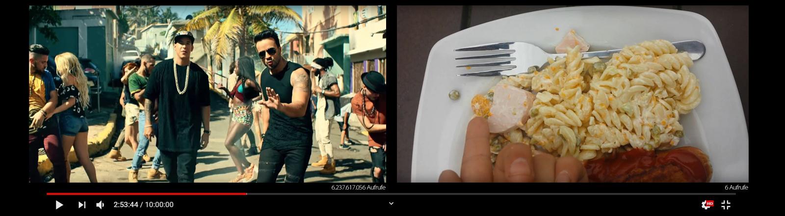 Videostills von Luis Fonsi und einer Bratwurst.