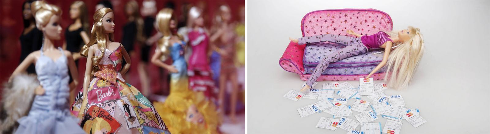 Barbie wird 60: Aufnahme aus einer italienischen Barbieausstellung 2016 (links)  und eine Barbie die von Rechnungen übermannt wird (rechts)