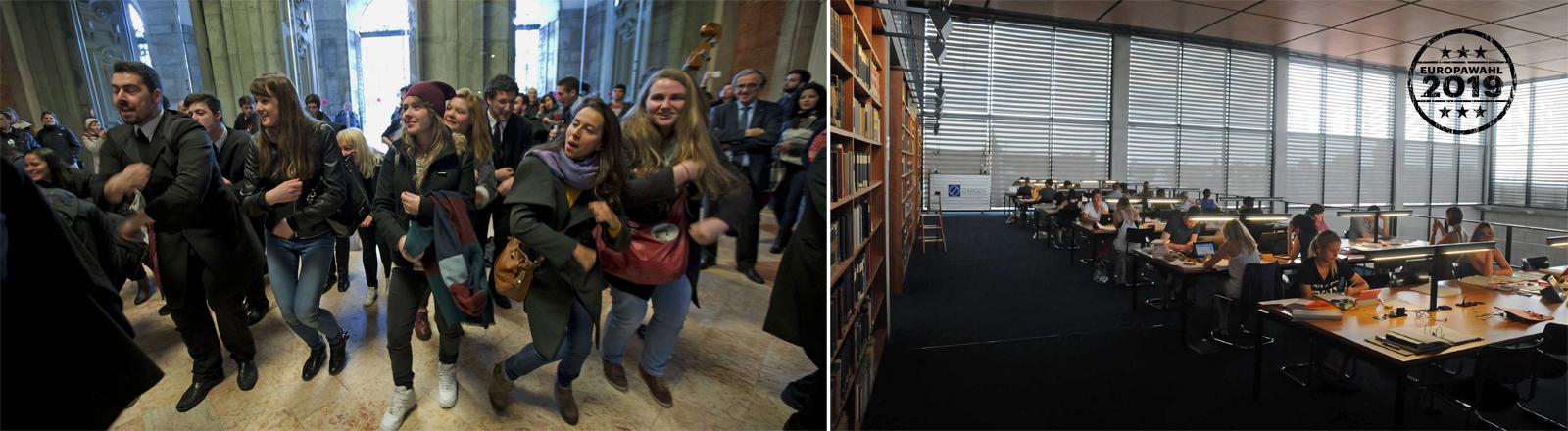 Erasmusstudierende und Lesesaal