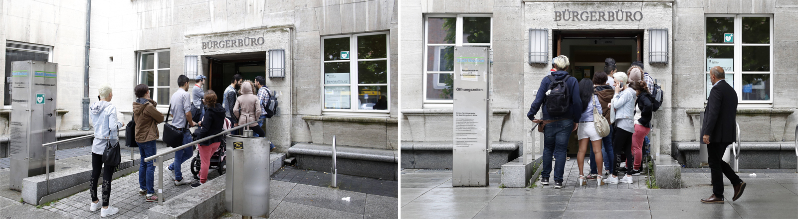 Kunden vor dem Bürgerbüro am Bochumer Rathaus im Jahr 2016