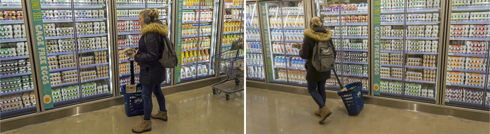Eine Kundin beim Eierkauf in der Eierabteilung des Supermarkts Whole Foods in Brooklyn