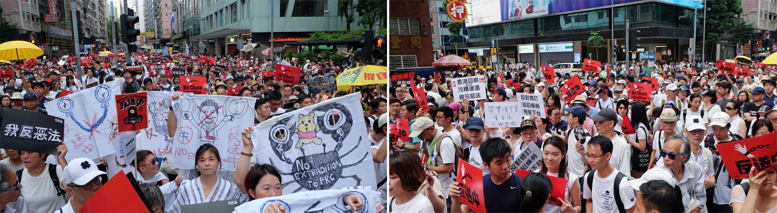 Protestierende in Hongkong am 9. Juni 2019