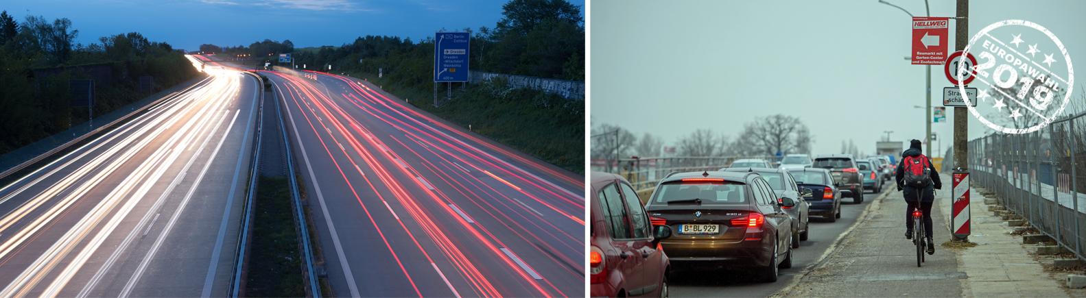 Autobahn in der Nähe Berlins und Radfahrerin neben einer stehenden Autokolonne