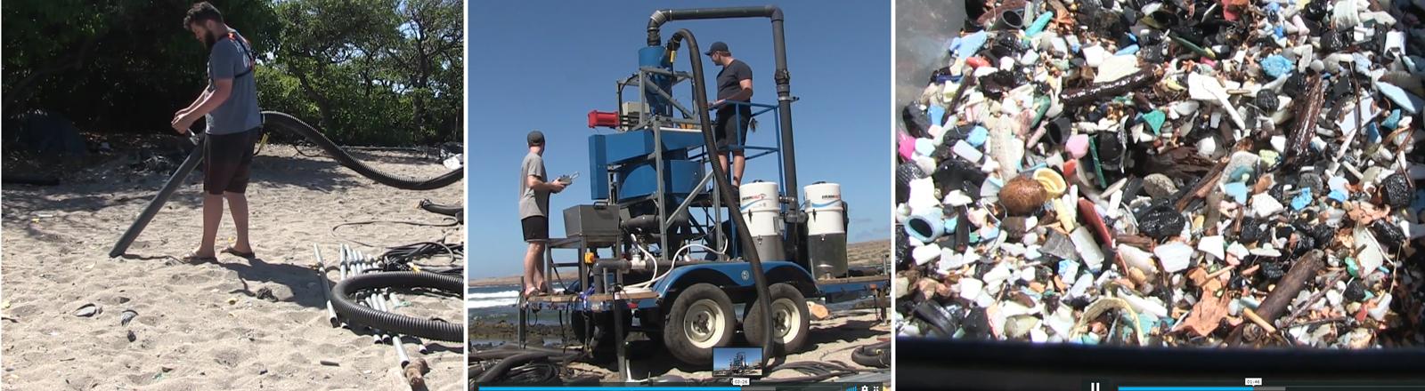 Die Sandsaugreinigungsmaschine Hoola One  in Aktion auf Hawaii