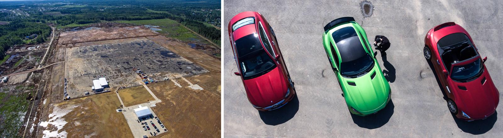 Autos des deutschen Herstellers Mercedes bei einer Präsentation zur Grundsteinlegung des neuen Werks in der Nähe von Moskau