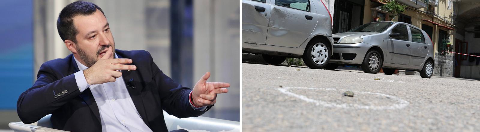 Notwehrrechte ausgeweitet: Matteo Salvini, der italienische Innenminister, legt an und Tatort einer Schießerei in Neapel
