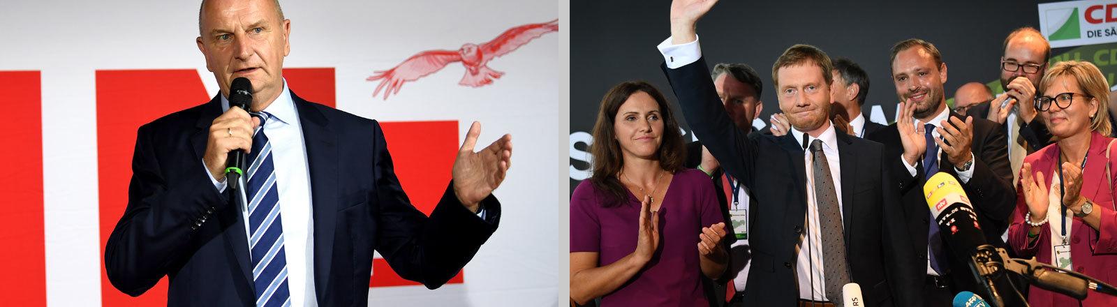 Collage: Auf dem Foto links ist Ministerpräsident Dietmar Woidke nach der Wahl in Brandenburg zu sehen; das Foto rechts zeigt Ministerpräsident Michael Kretschmer nach der Wahl in Sachsen; Fotos: dpa