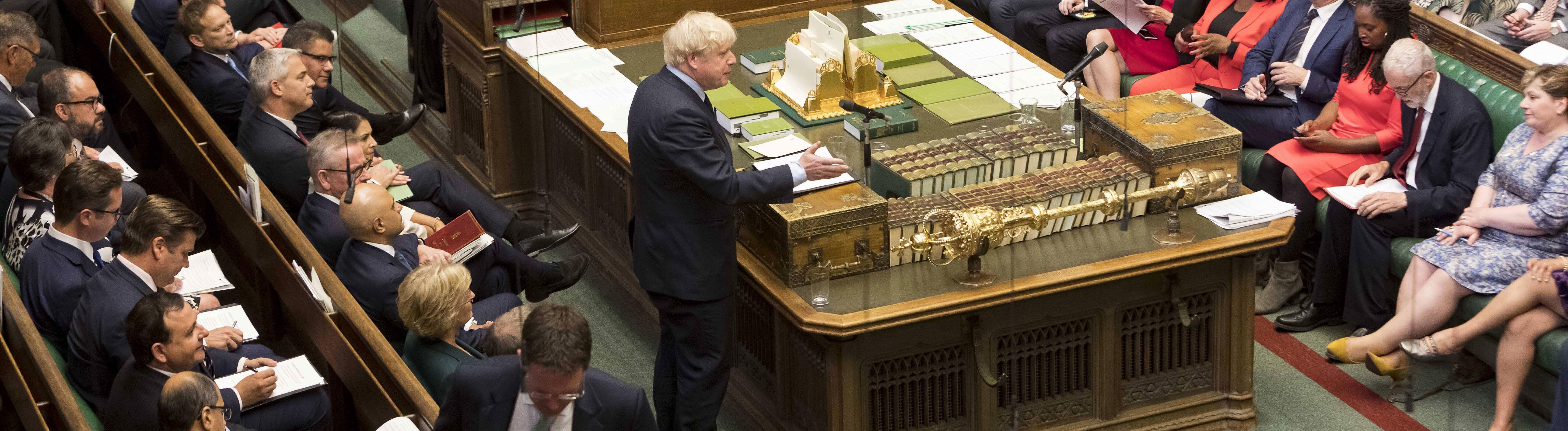 Eine Debatte im Unterhaus am 3. September 2019. Premierminister Boris Johnson spricht.