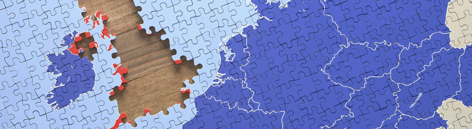 Großbritannien aus einem Puzzle entfernt