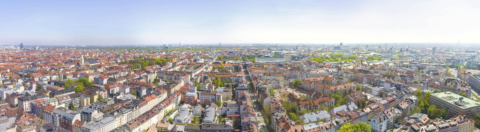 Blick von oben auf München.