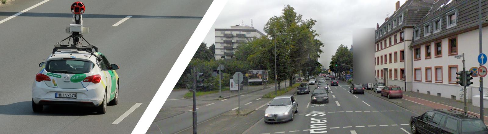 Screenshot einer Straße in Köln via Google Street View. Man sieht eine unkenntlich gemachte Hausfassade