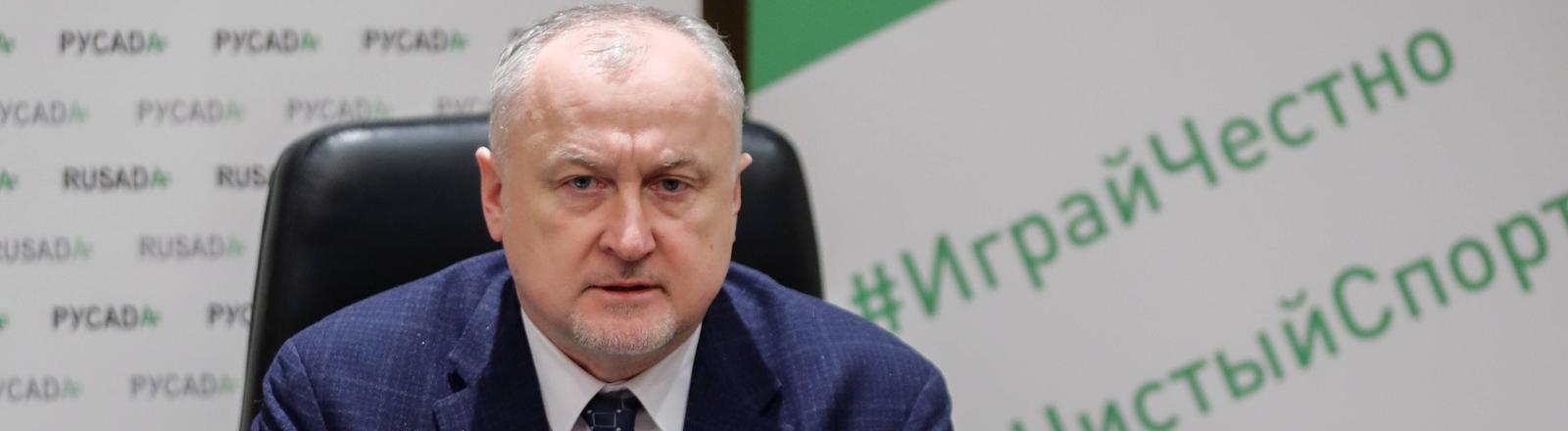 Der Direktor der Russischen Anti-Doping-Agentur Yuri Ganus bei einer Pressekonferenz im Januar 2019