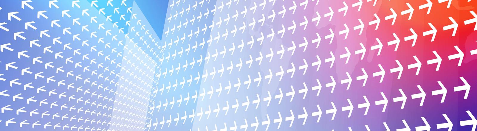 Pfeile auf bunten Flächen, die in verschiedene Richtungen zeigen