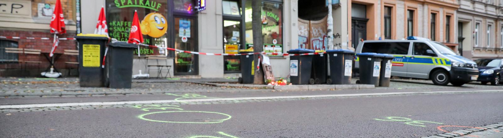 Dönerladen in Halle, in dem ein Mensch erschossen wurde