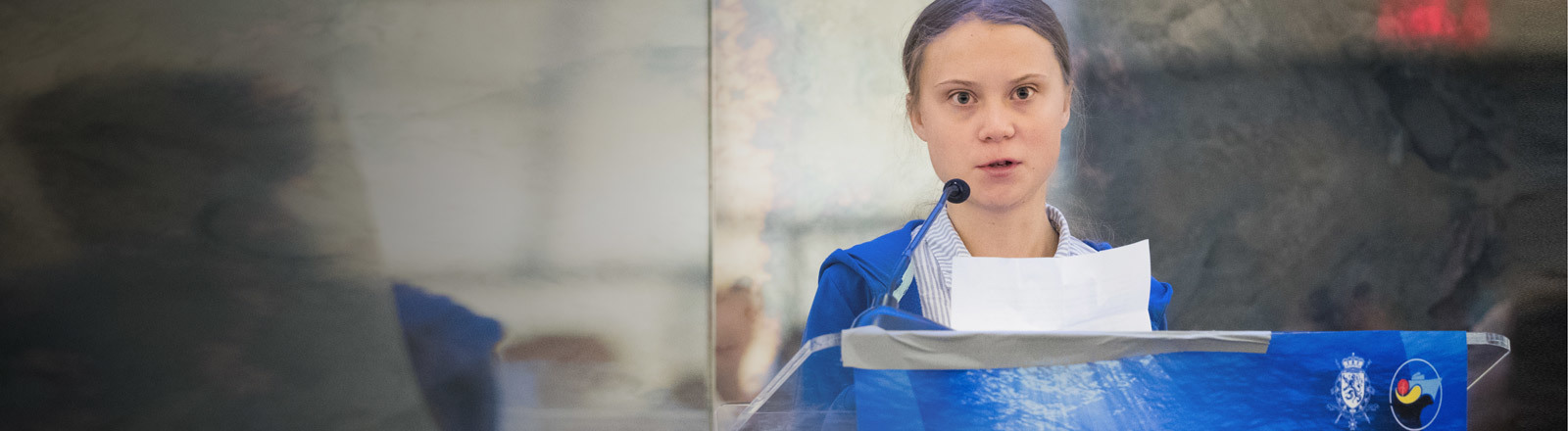Greta Thunberg bei einer Ansprache im Rahmen des Blue Leaders meeting Call to action on ocean and climate in New York am 25.09.2019