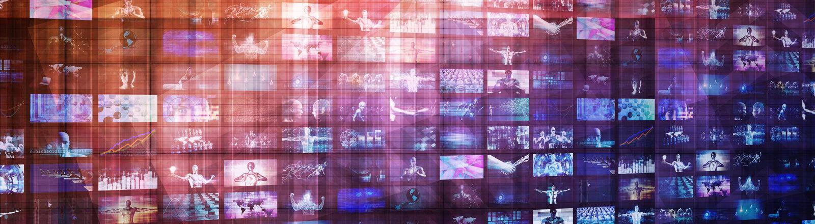 Viele Bildschirme über und nebeneinander.