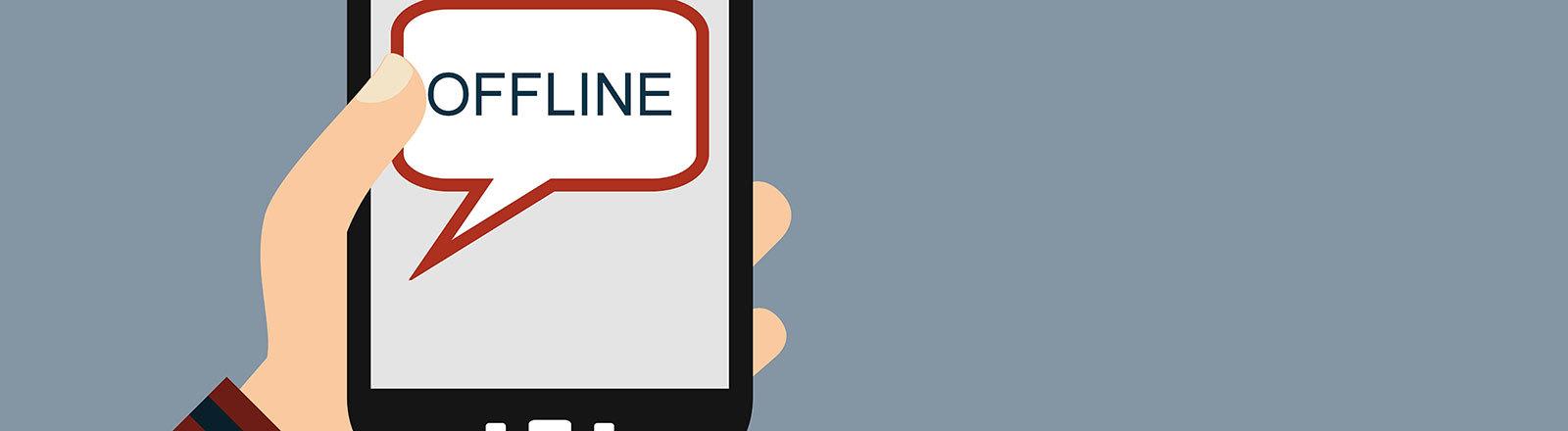 """""""Offline"""" steht auf einem Handy"""