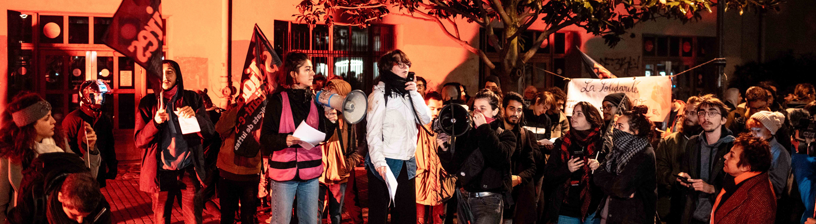 FRANCE - MEETING AGAINST STUDENT INSECURITY Following the immolation of a student. Students gathered in front of the Tolibiac Crus to demonstrate against student precariousness.