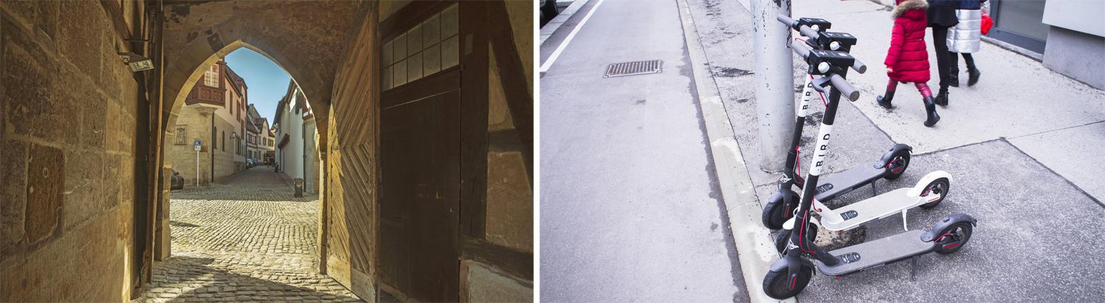 Nicht gerade kompatibel: Die Altstadt von Bamberg und E-Roller in Wien